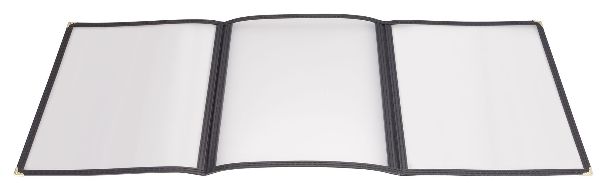 "Winco PMCT-9K Black Triple Fold Menu Cover 9-1/2"" x 12"""