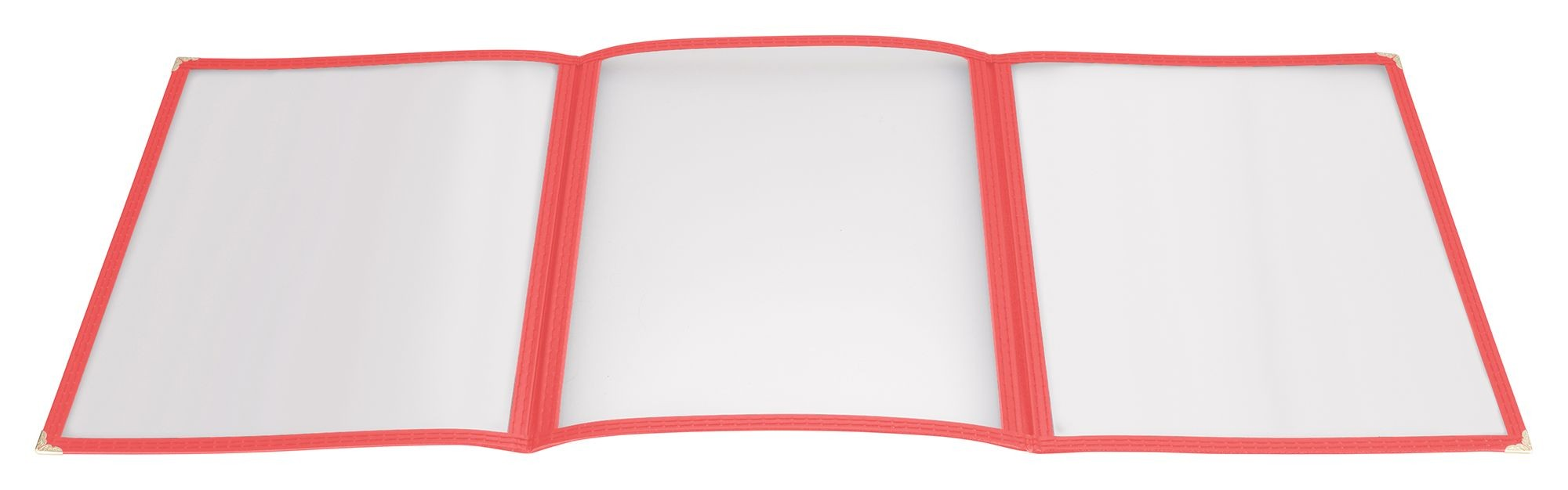 "Winco PMCT-9R Red Triple Fold Menu Cover 9-1/2"" x 12"""