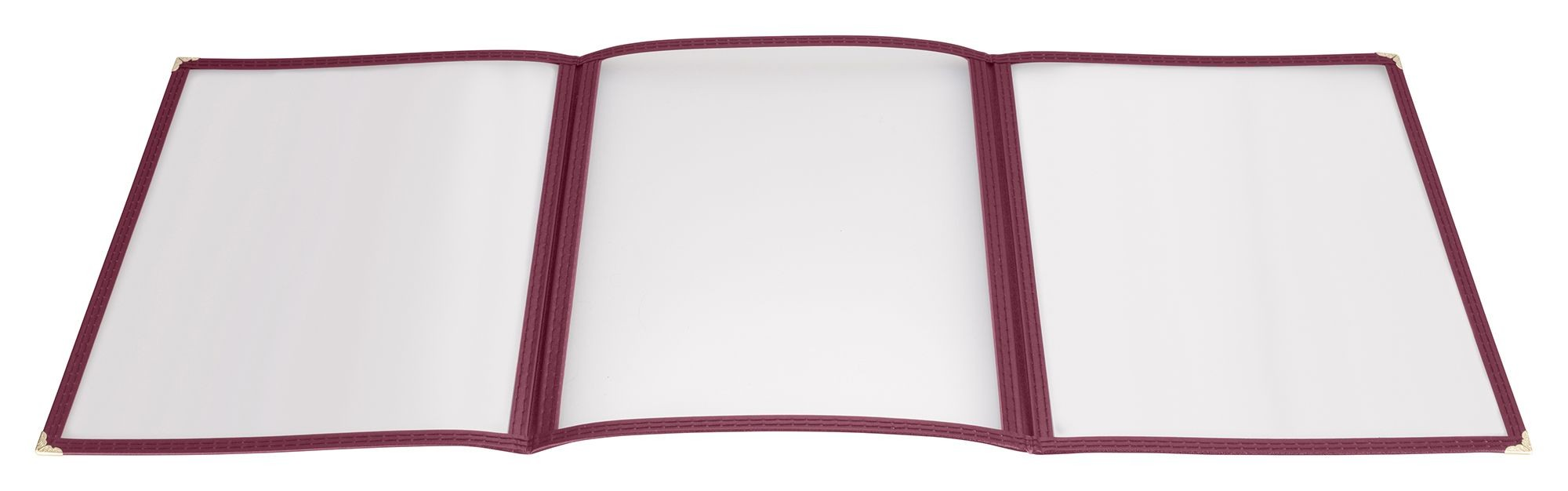 "Winco PMCT-9U Burgundy Triple Fold Menu Cover 9-1/2"" x 12"""