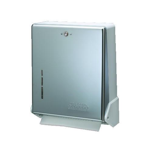 San Jamar True Fold Metal Front Cabinet Towel Dispenser, White