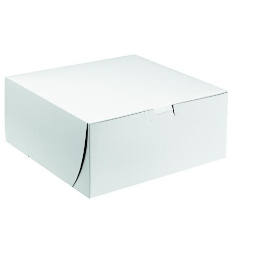 Tuck-Top Bakery Boxes, 9w x 9d x 2 1/2h, White