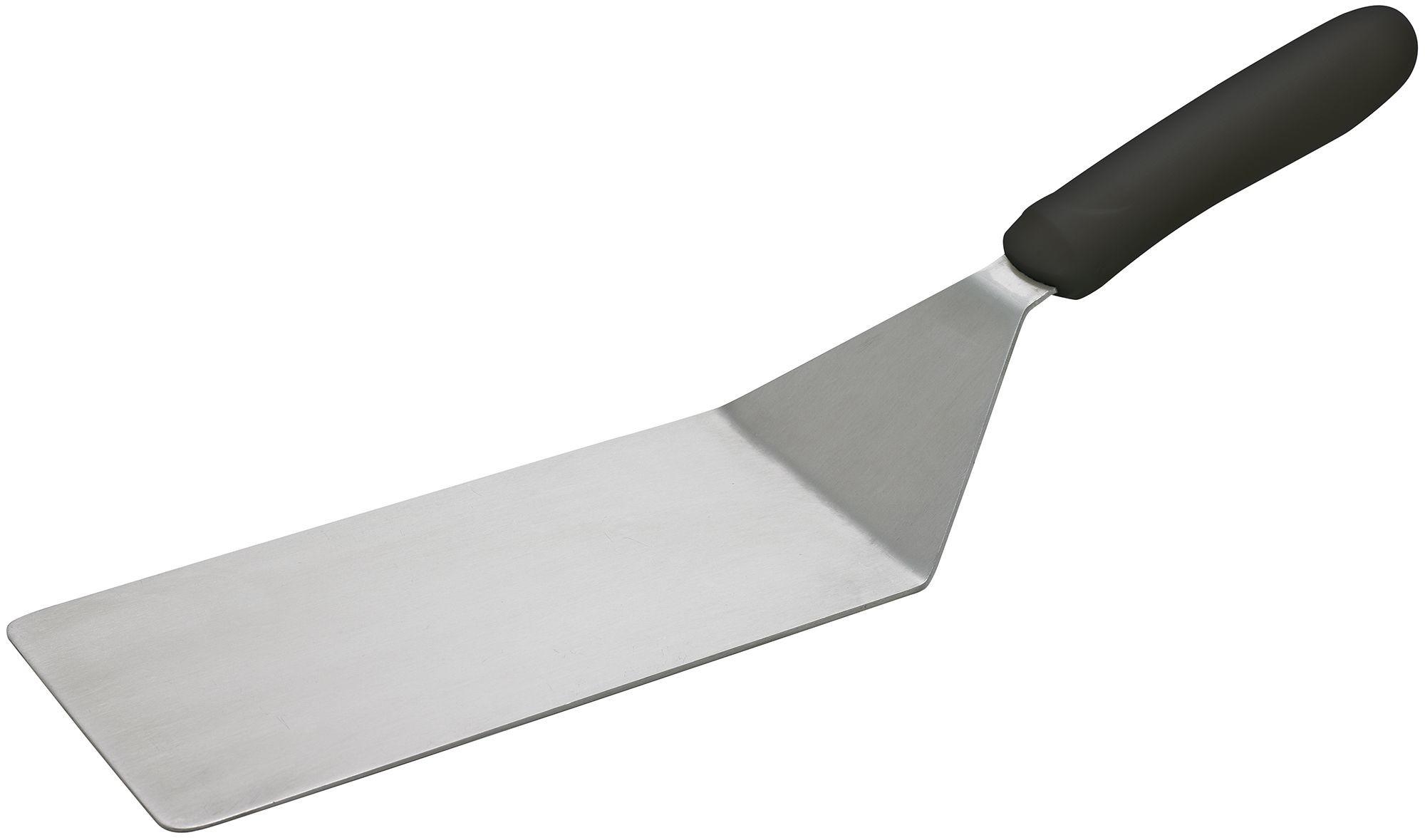 "Winco TKP-42 Offset Solid Stainless Steel Turner, 4"" x 8"" Blade, Black Polypropylene Handle"