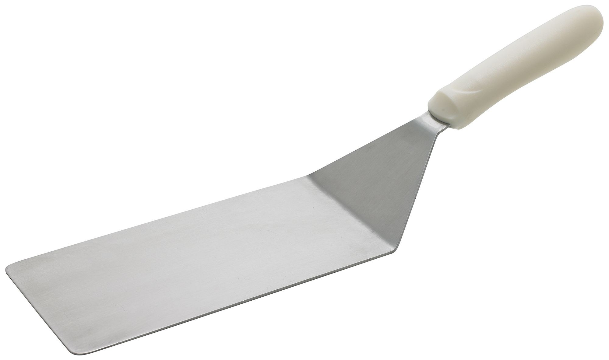 """Winco TWP-42 Offset Solid Turner, 4"""" x 8"""" Blade, White Polypropylene Handle"""