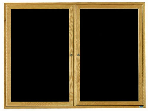 "Aarco Products ODC3648L Two-Door Red Oak Enclosed Message Center 36""H x 48""W"