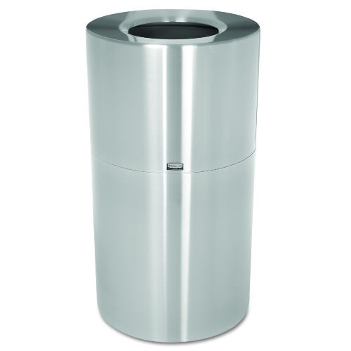 Two-Piece Open Top Indoor Garbage Receptacle, Round, Satin Aluminum, 35 gal