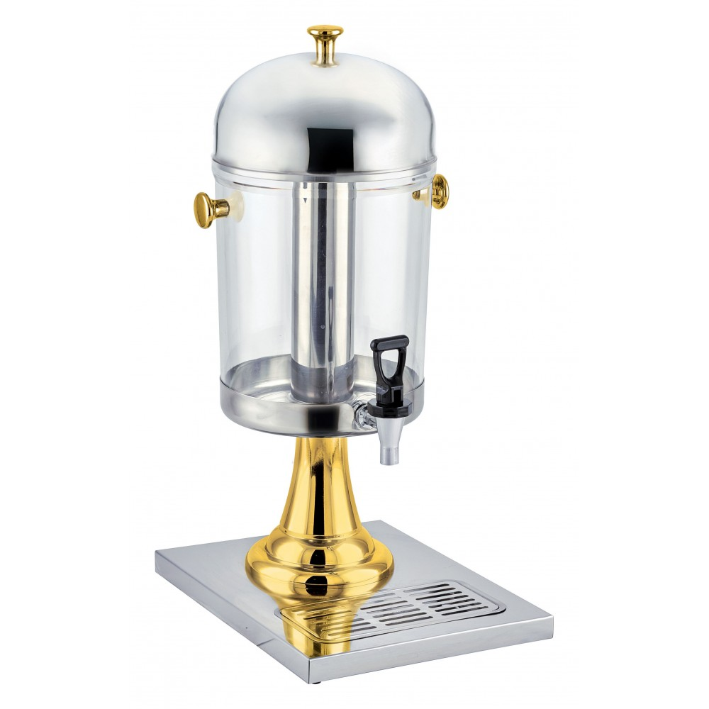 Stainless Steel 7-1/2 Qt Juice Dispenser with Brass Accents