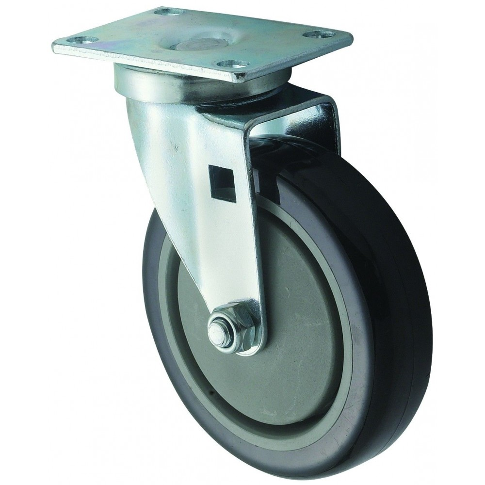 """Winco CT-23 Universal Plate Caster Set 2-3/8"""" x 3-5/8"""" with 5"""" Wheel"""