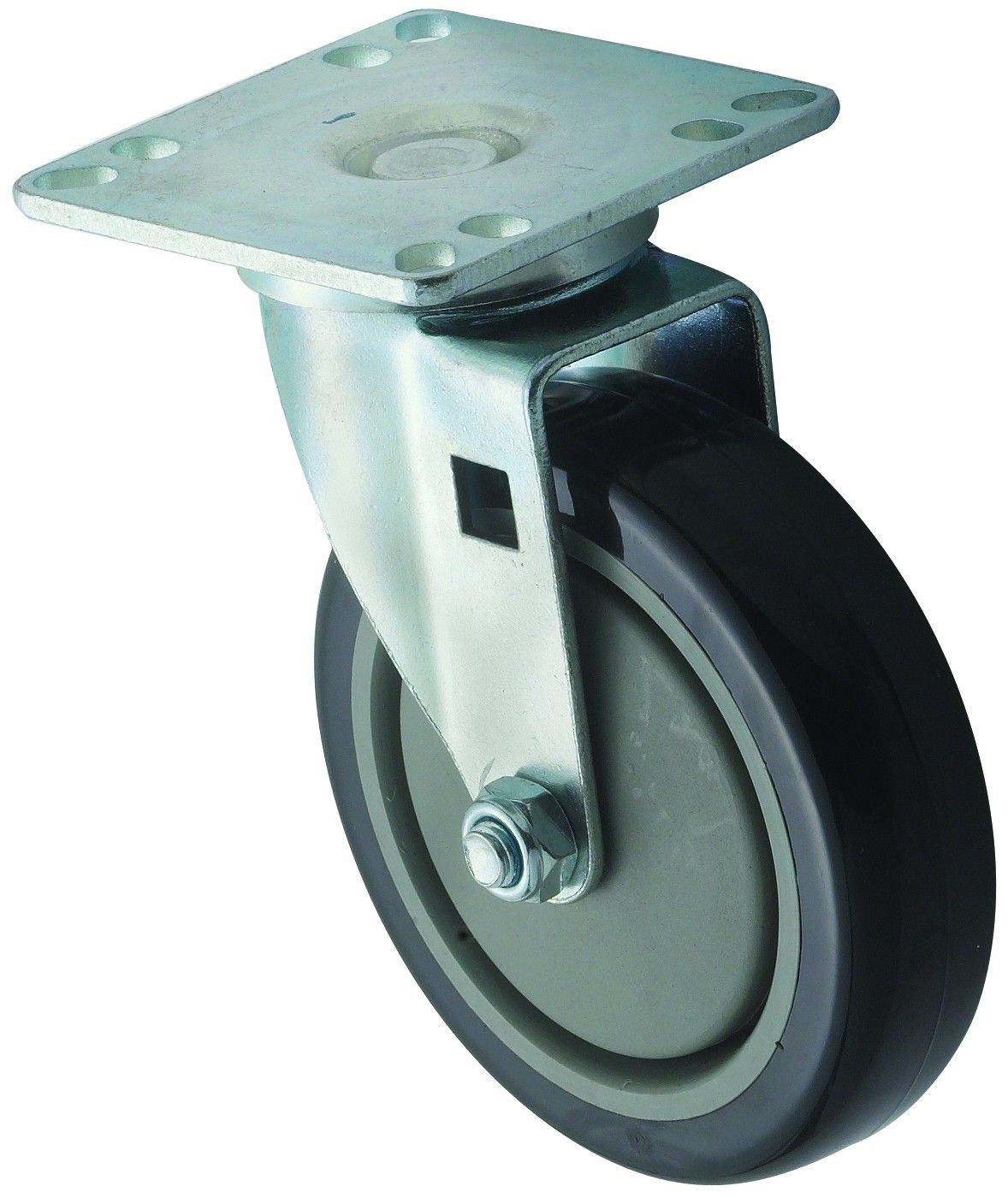 "Winco CT-33 Universal Plate Caster Set 3-1/2"" x 3-1/2"" with 5"" Wheel"