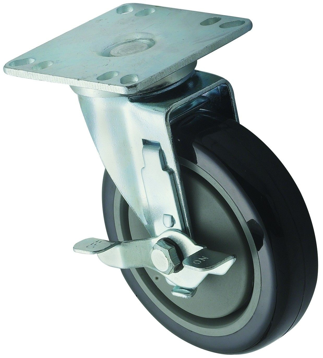"""Winco CT-33B Universal Plate Caster Set 3-1/2"""" x 3-1/2"""" with 5"""" Wheel and Brake"""