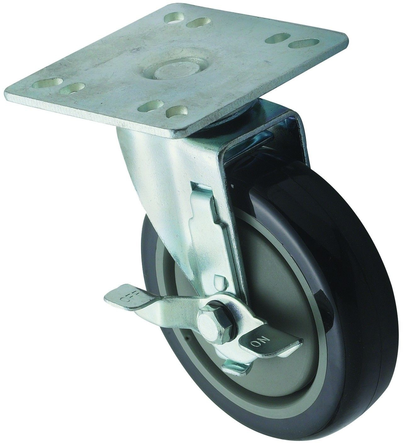 "Winco CT-44B Universal Plate Caster Set 4"" x 4"" with 5"" Wheel and Brake"