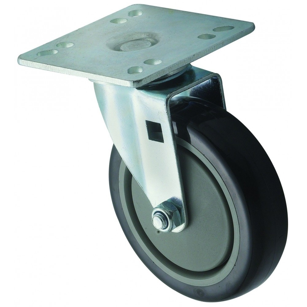 "Winco CT-44 Universal Plate Caster Set 4"" x 4"" with 5"" Wheel"