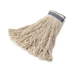 Universal Headband Mop Heads, Cotton, White, 16 oz, 1-in. Blue Headband