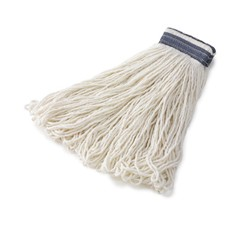 Universal Headband Mop Heads, Rayon, White, 24 oz, 1-in. Blue Headband