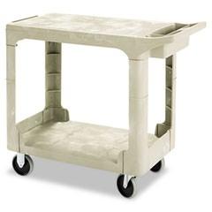 Utility 2 Flat-Shelf Cart, 250 lb Max, Plastic, Beige