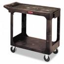 Utility 2 Flat-Shelf Cart, 250 lb Maximum, Plastic, Black