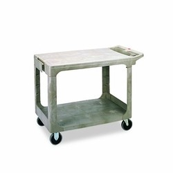 Utility 2 Flat-Shelf Cart, 500 lb, Structural Foam, Beige