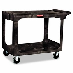 Utility 2 Flat-Shelf Cart, 500 Lb Structural Foam Construction, Black