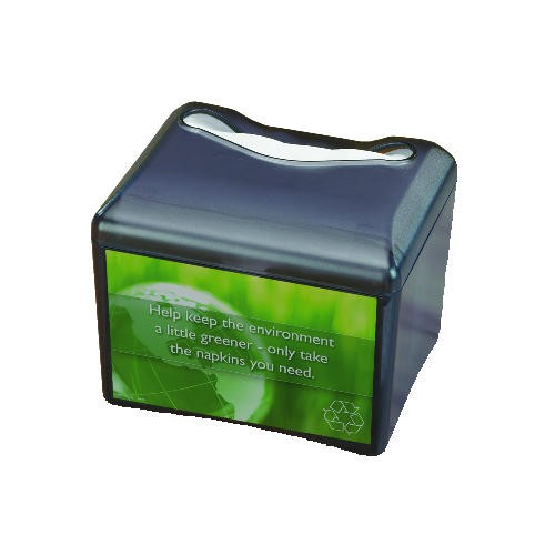 Venue Napkin Dispenser w/Advertising Inset, 6-1/2x6-1/8x6-8/9, Cap: 200, Black