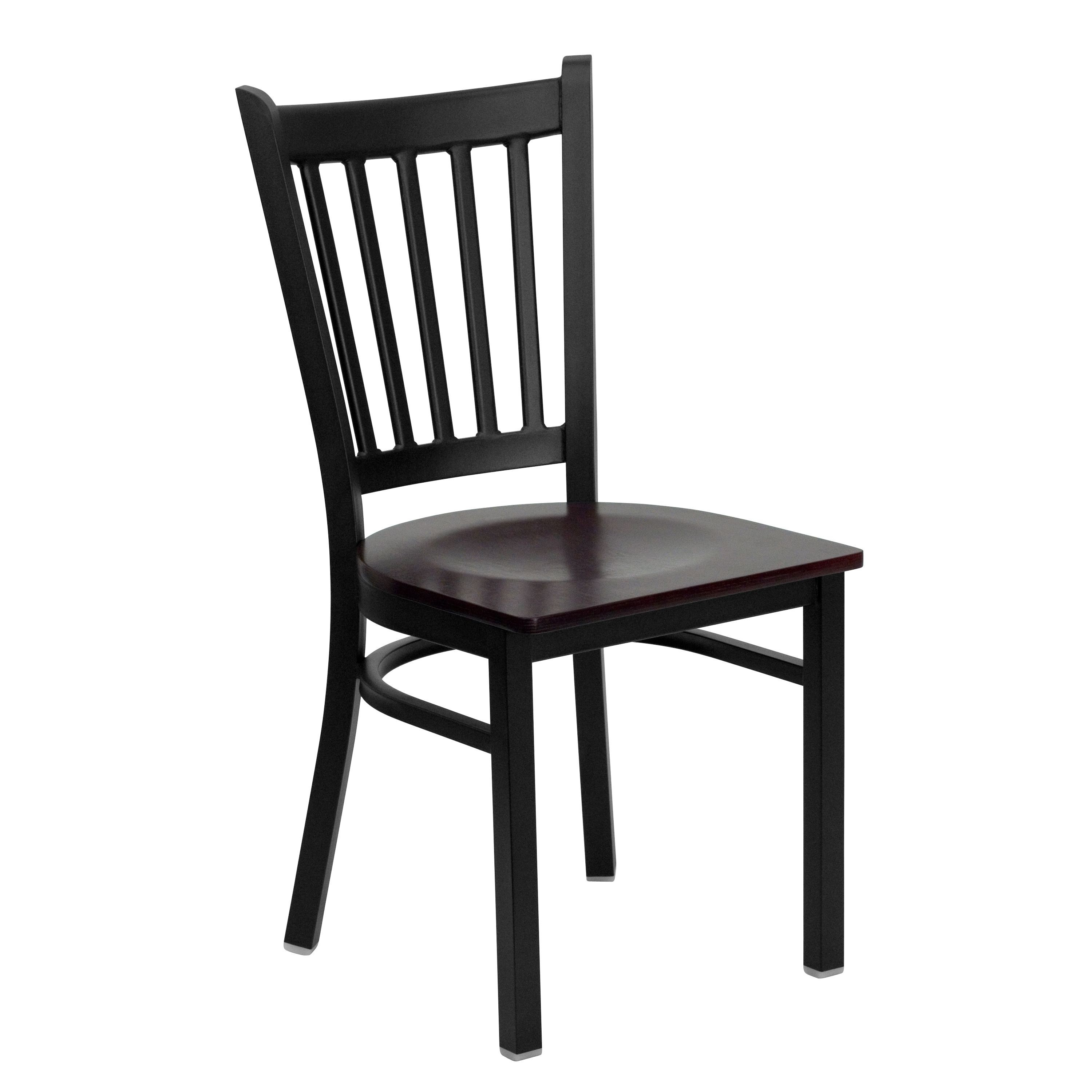 Flash Furniture XU-DG-6Q2B-VRT-MAHW-GG Vertical Back Black Metal Restaurant Chair with Mahogany Wood Seat