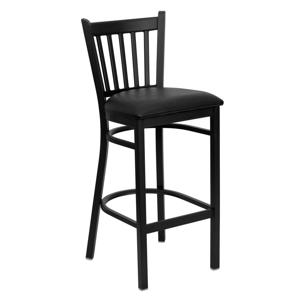 Vertical Back Metal Restaurant Barstool with Black Vinyl Seat - Black Powder Coat Frame