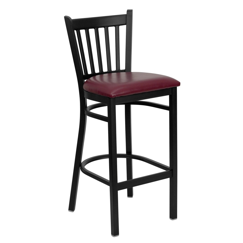 Flash Furniture XU-DG-6R6B-VRT-BAR-BURV-GG Vertical Back Metal Restaurant Barstool with Burgundy Vinyl Seat Black Powder Coat Frame