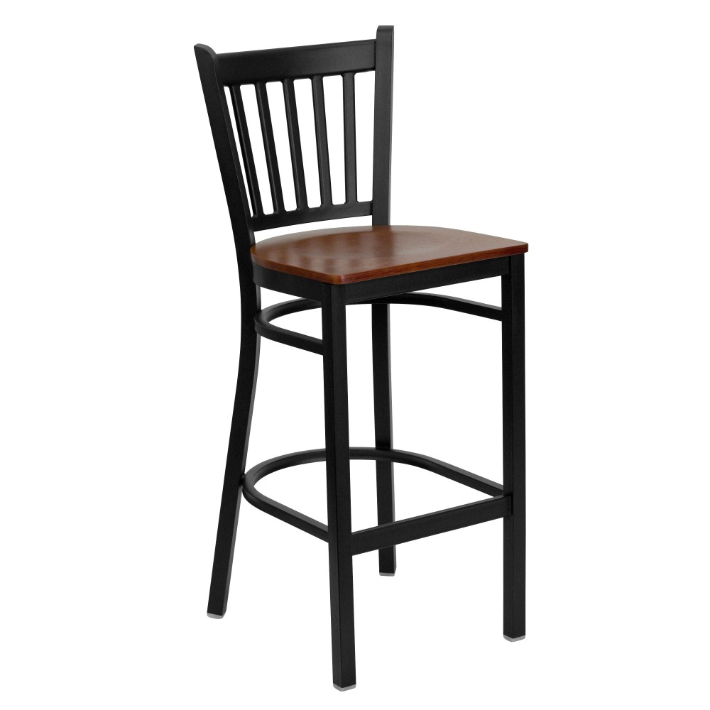Vertical Back Metal Restaurant Barstool with Cherry Wood Seat - Black Powder Coat Frame