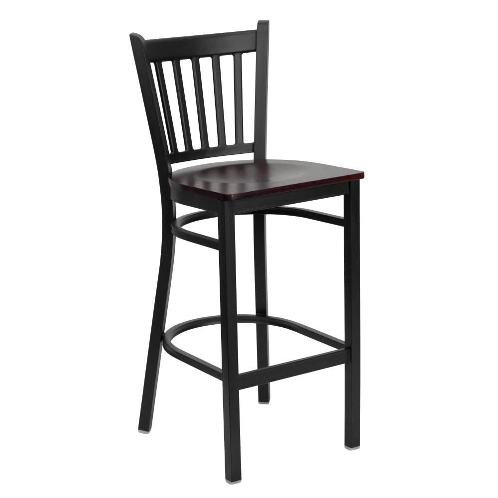 Vertical Back Metal Restaurant Barstool with Mahogany Wood Seat - Black Powder Coat Frame