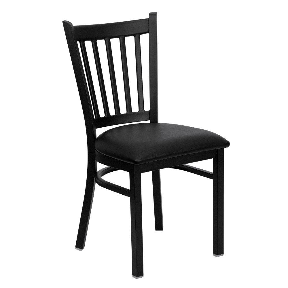 Vertical Back Metal Restaurant Chair with Black Vinyl Seat - Black Powder Coat Frame