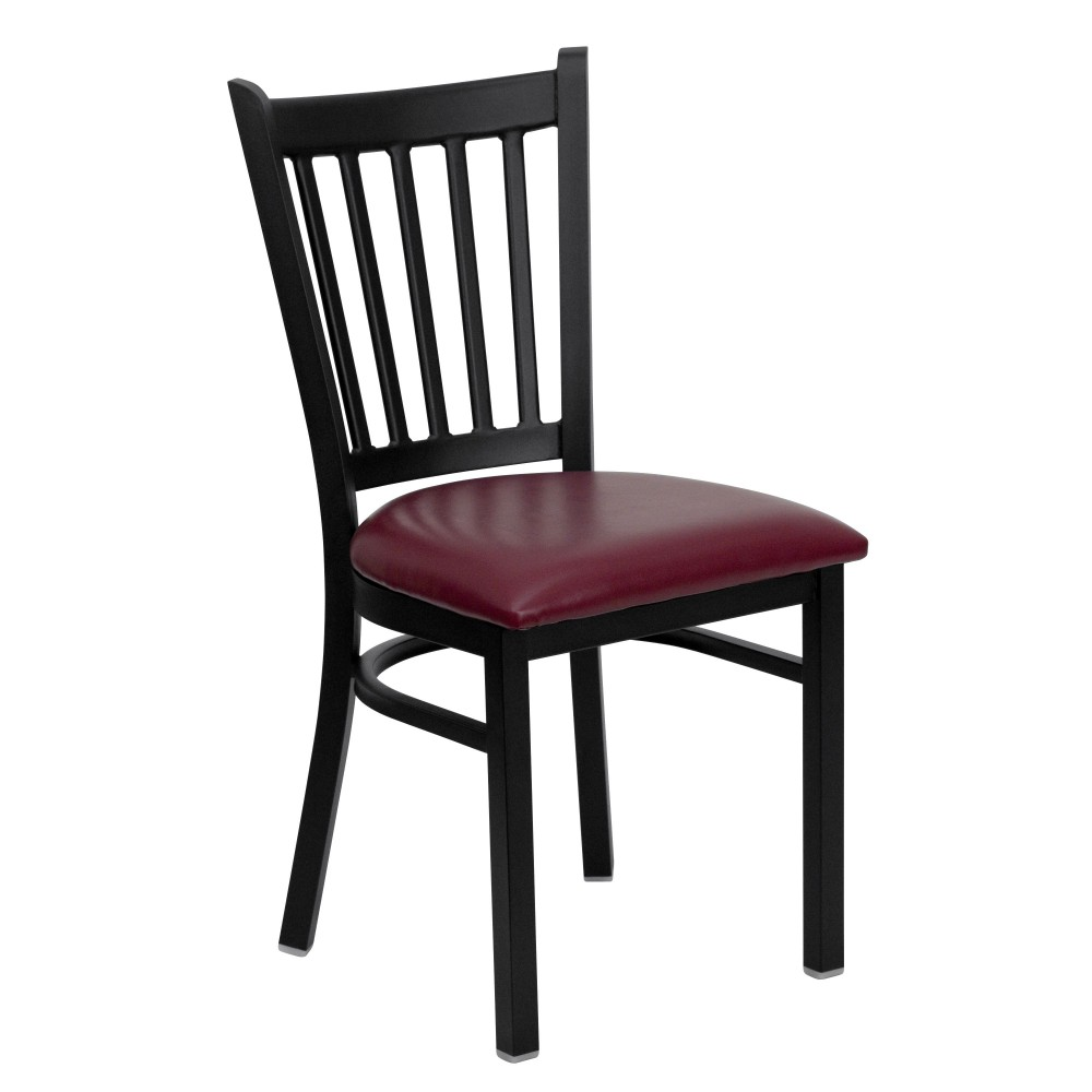 Vertical Back Metal Restaurant Chair with Burgundy Vinyl Seat - Black Powder Coat Frame