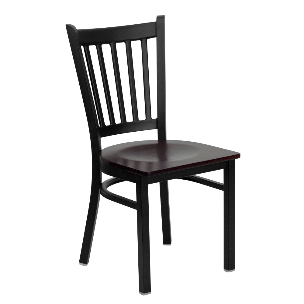Flash Furniture XU-DG-6Q2B-VRT-MAHW-GG Vertical Back Metal Restaurant Chair with Mahogany Wood Seat Black Powder Coat Frame