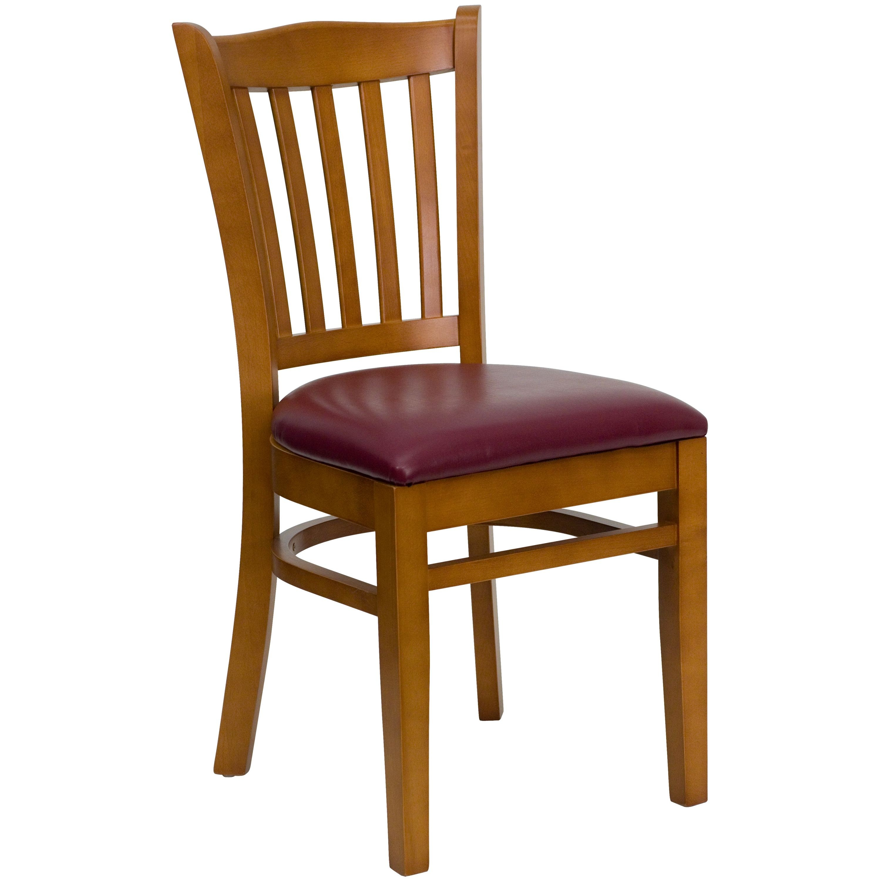 Vertical Slat Back Cherry Wood Chair with Burgundy Vinyl Seat