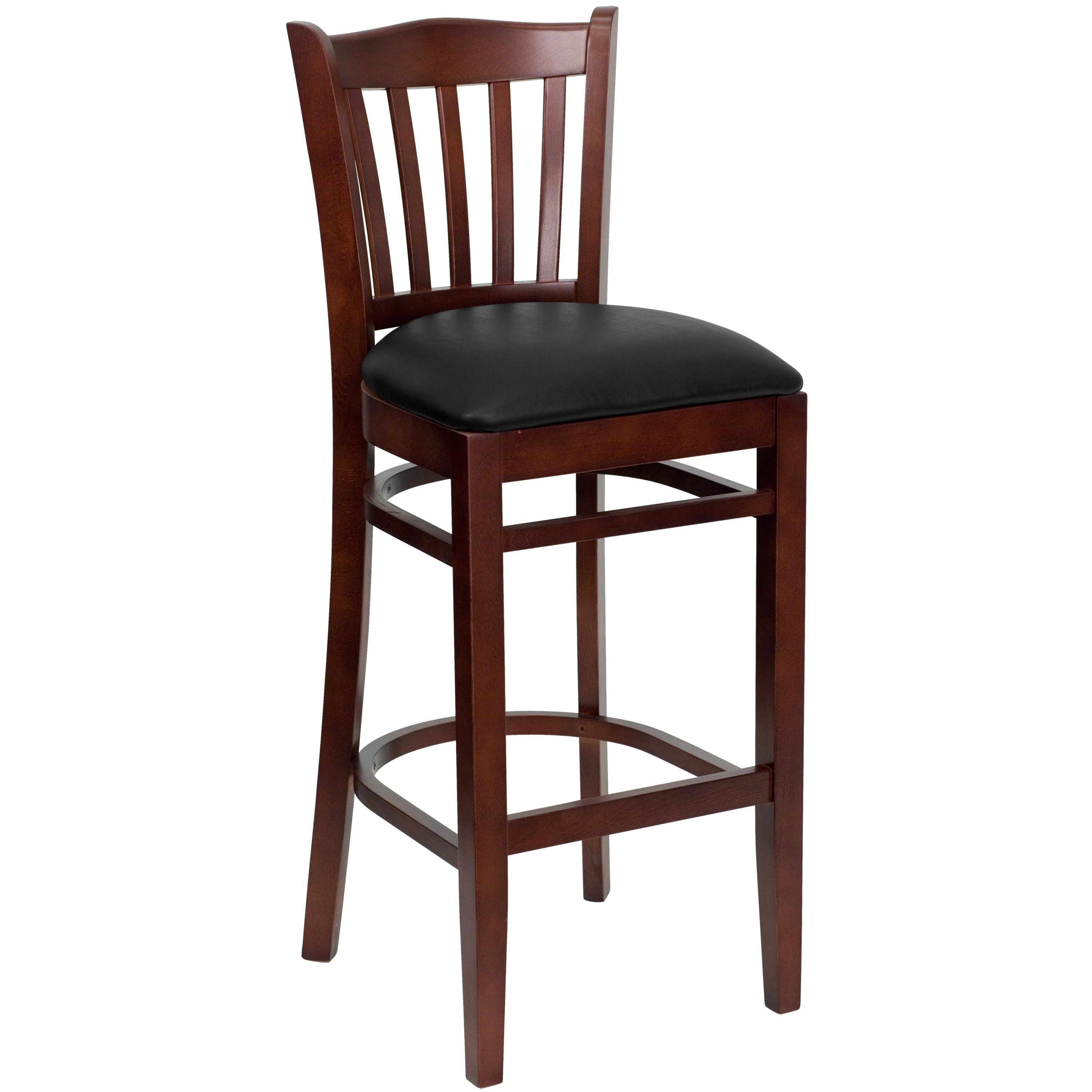 Vertical Slat Back Mahogany Wood Bar Stool with Black Vinyl Seat