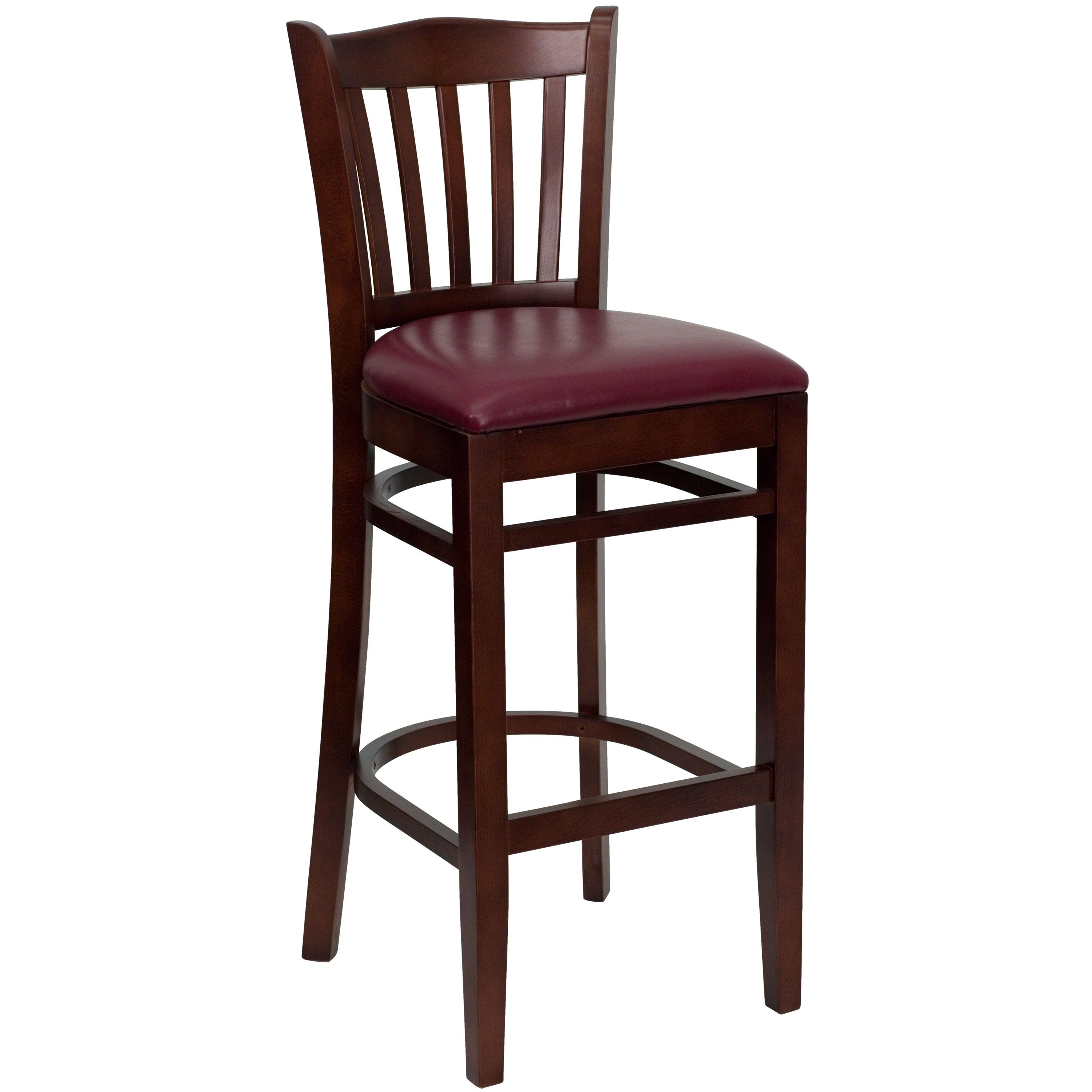 Flash Furniture XU-DGW0008BARVRT-MAH-BURV-GG Vertical Slat Back Mahogany Wood Bar Stool with Burgundy Vinyl Seat