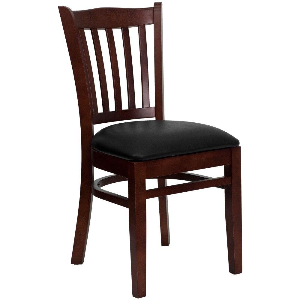 Vertical Slat Back Mahogany Wood Chair with Black Vinyl Seat