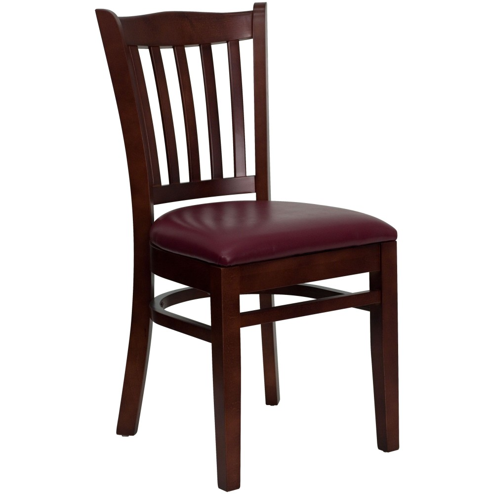 Vertical Slat Back Mahogany Wood Chair with Burgundy Vinyl Seat