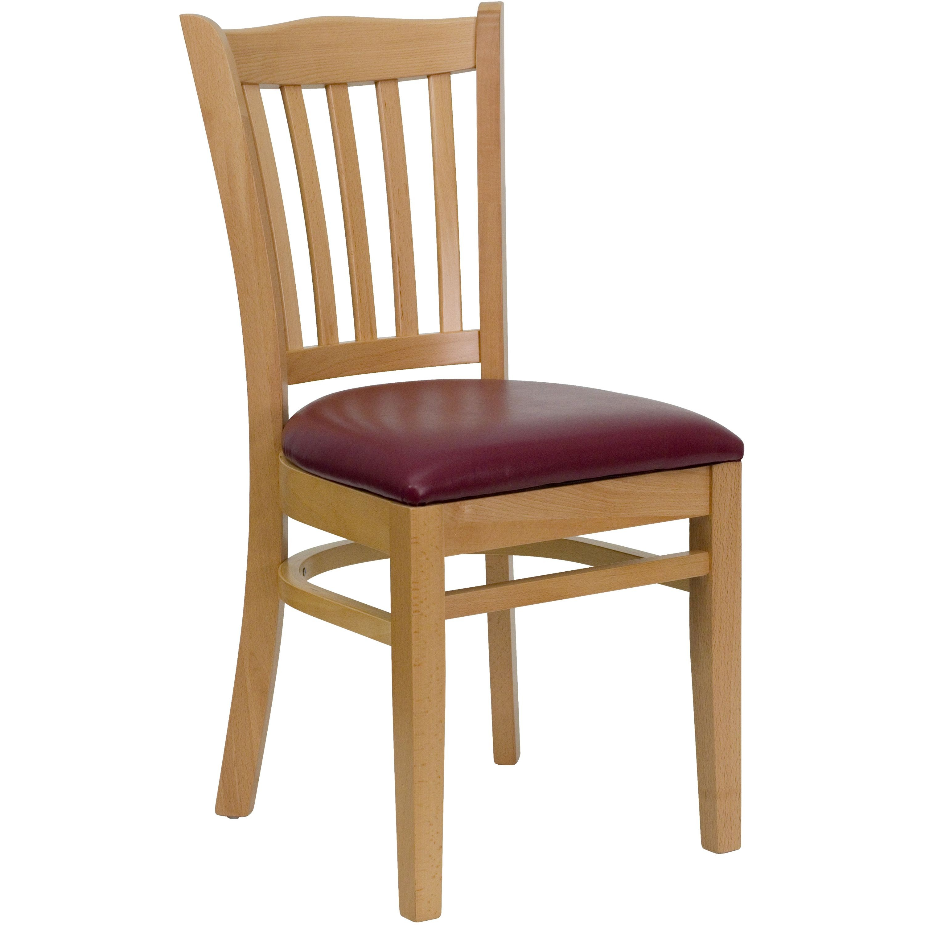 Vertical Slat Back Natural Wood Chair with Burgundy Vinyl Seat
