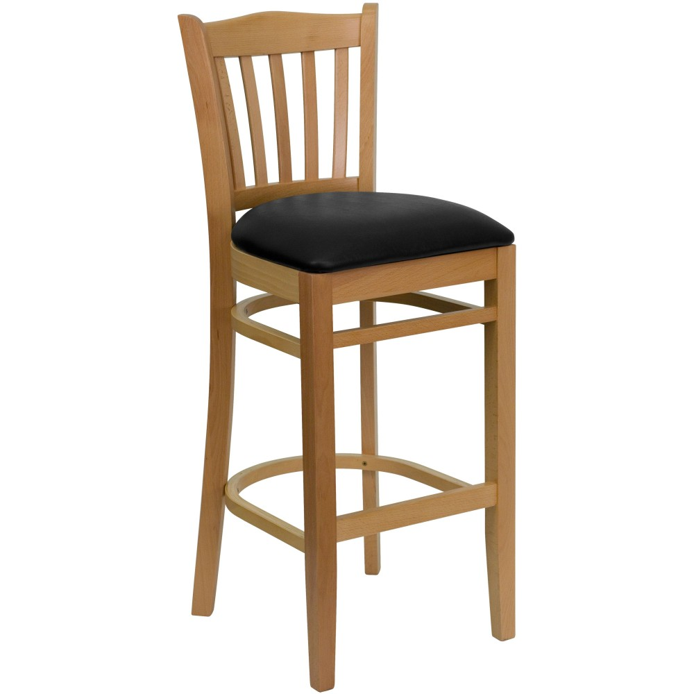Vertical Slat Back Natural Wood Bar Stool with Black Vinyl Seat