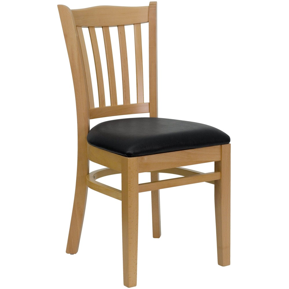 Vertical Slat Back Natural Wood Chair with Black Vinyl Seat