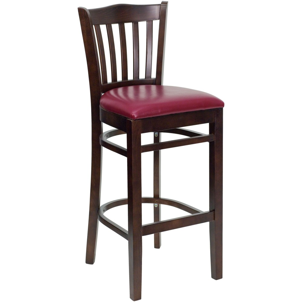 Vertical Slat Back Walnut Wood Bar Stool with Burgundy Vinyl Seat