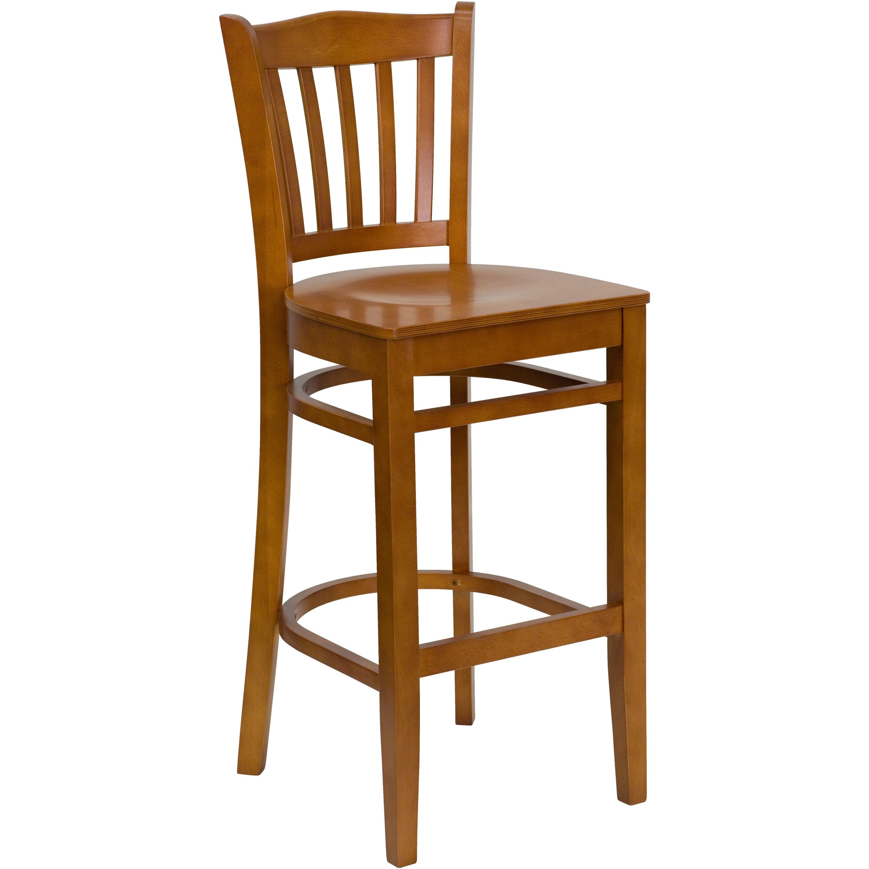 Flash Furniture XU-DGW0008BARVRT-CHY-GG Vertical Slat Back Wood Bar Stool with Cherry Finish