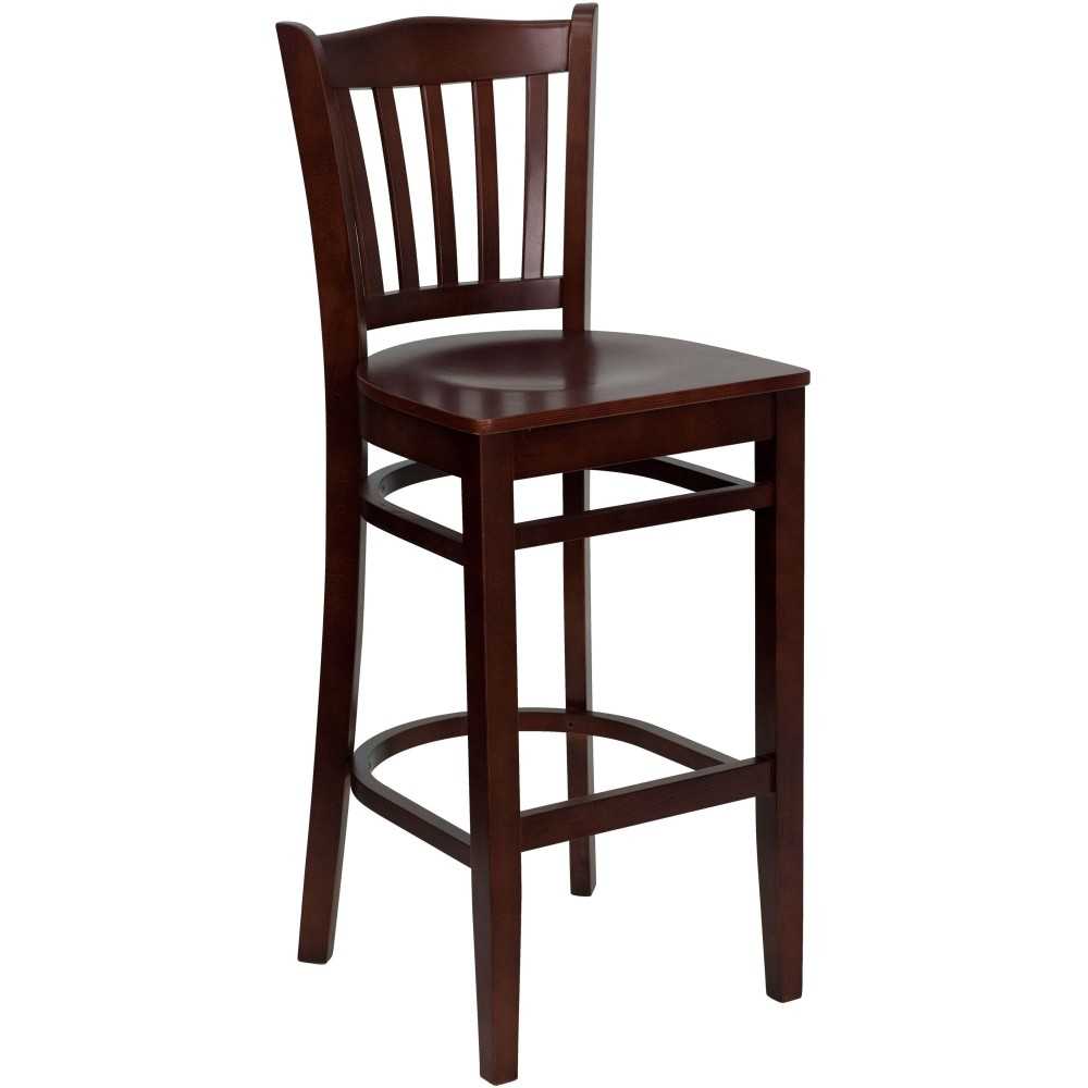 Vertical Slat Back Wood Bar Stool with Mahogany Finish