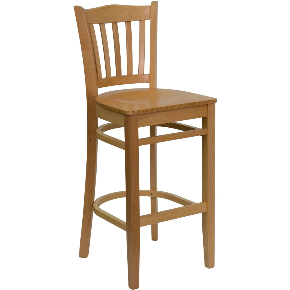 Vertical Slat Back Wood Bar Stool with Natural Finish