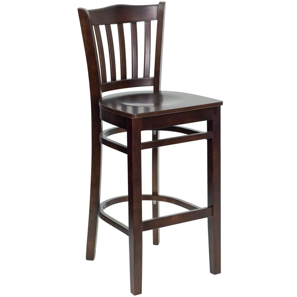 Flash Furniture XU-DGW0008BARVRT-WAL-GG Vertical Slat Back Wood Bar Stool with Walnut Finish