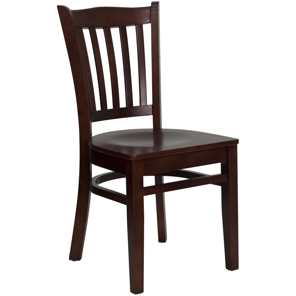 Vertical Slat Back Wood Chair with Mahogany Finish