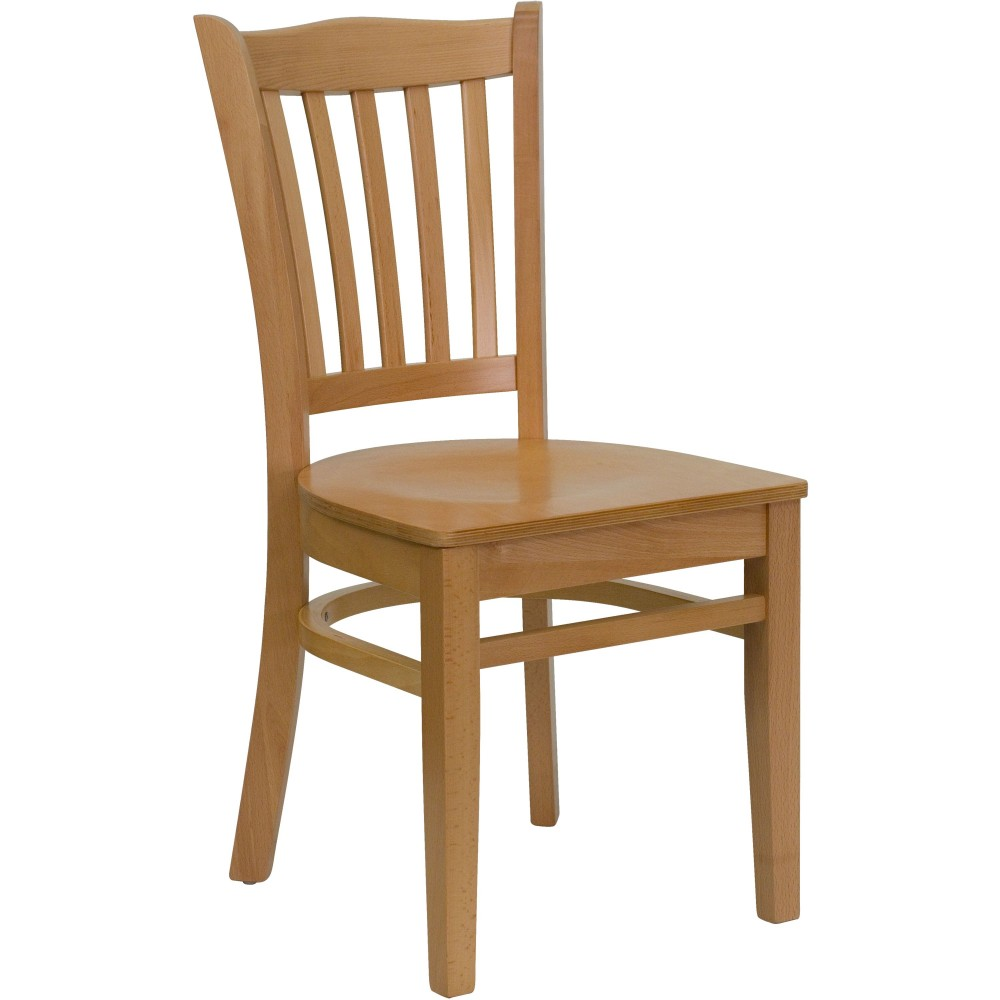 Vertical Slat Back Wood Chair with Natural Finish