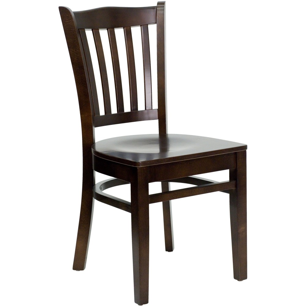 Flash Furniture XU-DGW0008VRT-WAL-GG Vertical Slat Back Wood Chair with Walnut Finish