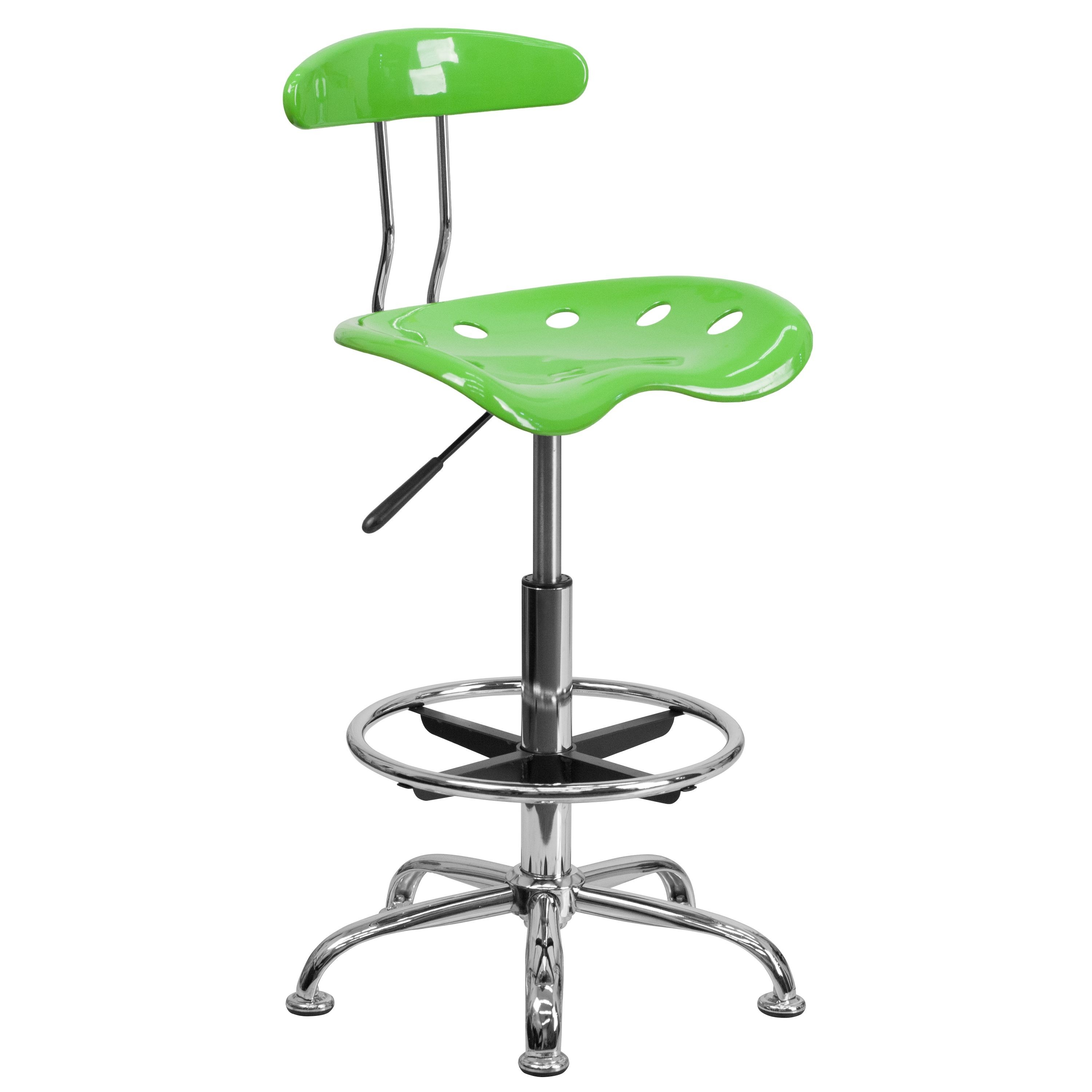 Flash Furniture LF-215-APPLEGREEN-GG Vibrant Apple Green and Chrome Bar Height Drafting Stool with Tractor Seat