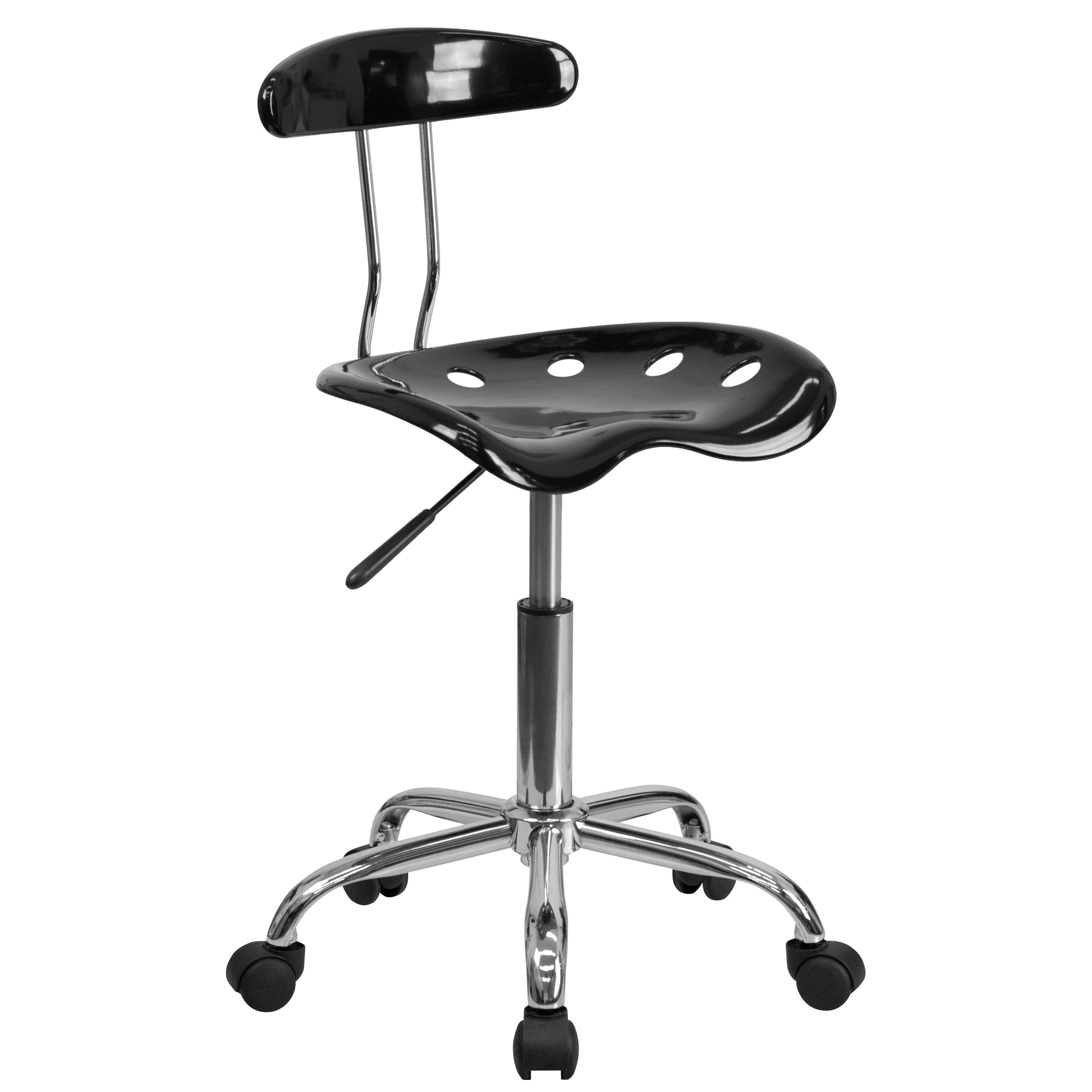 Flash Furniture LF-214-BLK-GG Vibrant Black and Chrome Computer Task Chair with Tractor Seat