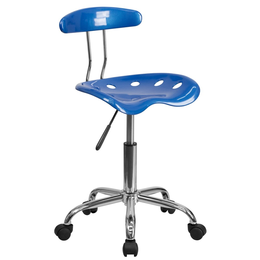 Flash Furniture LF-214-BRIGHTBLUE-GG Vibrant Bright Blue and Chrome Computer Task Chair with Tractor Seat