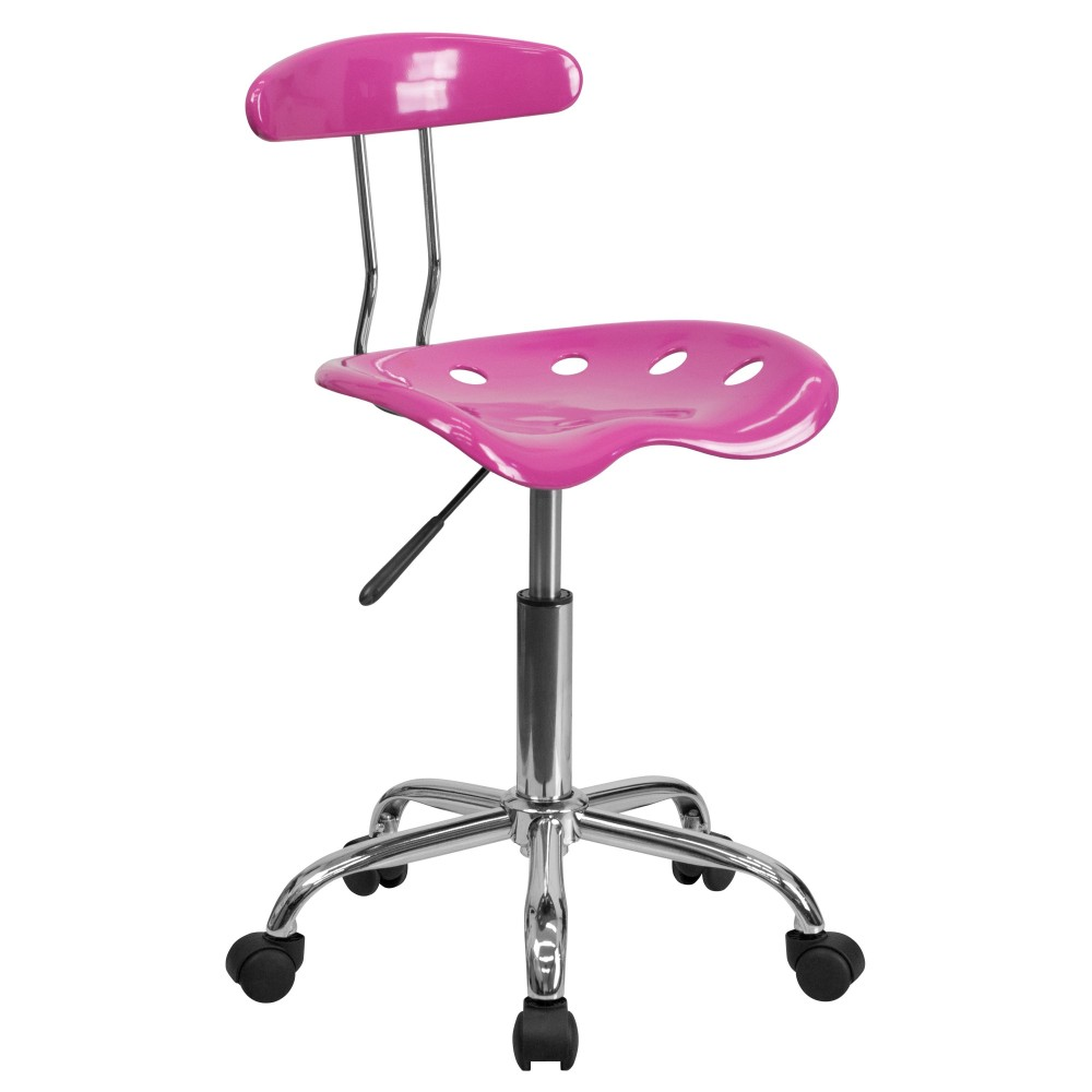 Flash Furniture LF-214-CANDYHEART-GG Vibrant Candy Heart and Chrome Computer Task Chair with Tractor Seat